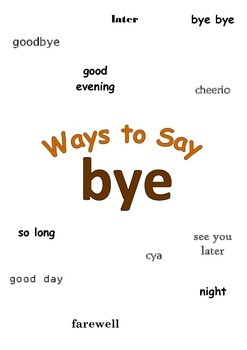"""Ways to Say """"bye"""" Mini Writing Lesson Poster"""