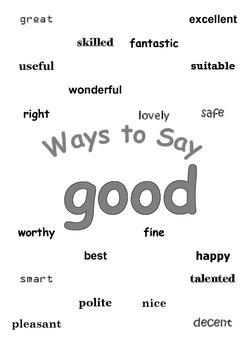 "Ways to Say ""good"" Mini Writing Lesson Poster"