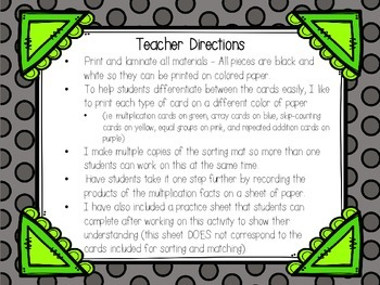 Ways to Show Multiplication -  A Matching Activity