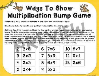 Ways to Show Multiplication Bump Game (Arrays, Groups, Repeated Addition)