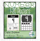 Ways to Show a Number Posters 1-20 - Shiplap, Chalkboard Calm Classroom Decor