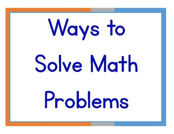 Ways to Solve Math Problems posters