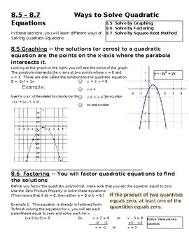 Ways to Solve Quadratics