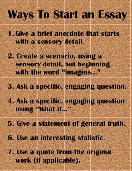 Ways To Start An Essayposter Or Handout By Marilyn Pryle  Tpt Ways To Start An Essayposter Or Handout