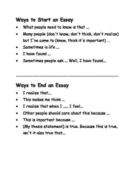 ways to start and end an essay by caros corner  tpt