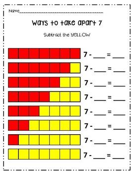 Ways to Take Apart 4-10 - Subtraction