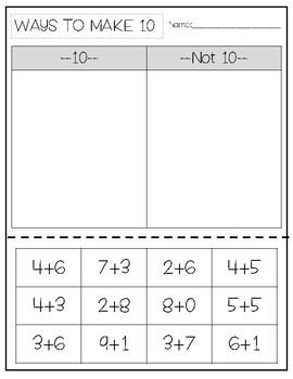 Ways to make 10 - Sort