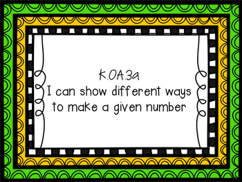 Ways to make number on a Ten Frame Practice