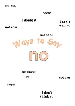 """Ways to say """"no"""" Mini Writing Lesson Poster"""