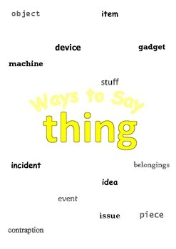 """Ways to say """"thing"""" Mini Writing Lesson Poster"""