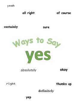 """Ways to say """"yes"""" Mini Writing Lesson Poster"""