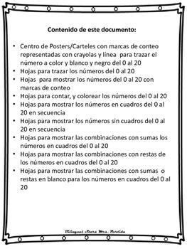 Numeros del 0 al 20 Marcas de conteo y Mas Bilingual StarsMrsPartida