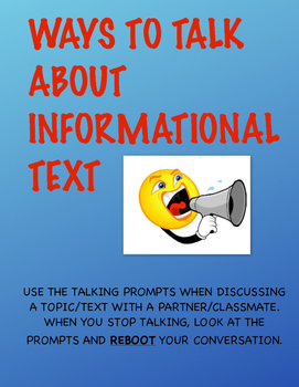 """""""WAYS TO TALK"""" ABOUT INFORMATIONAL TEXT"""