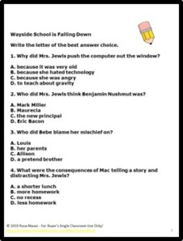 Wayside School is Falling Down End of Book Quiz