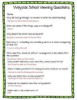 Wayside Story Movie Questions