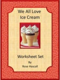 Ice Cream Activities, Kindergarten Math Cut and Paste Worksheets, Sub Plans