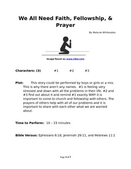 We All Need Faith, Fellowship, and Prayer Small Group Reader's Theater