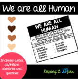 We Are All Human Prompt Cards  Race, Equality, Friendship, Culture & SEL  