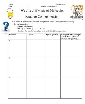 We Are All Made of Molecules: Reading Comprehension Unit