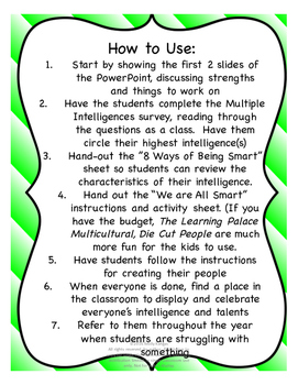 We Are All Smart: Multiple Intelligences Beginning of the Year Activity