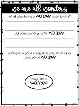 We Are All Wonders Welcome Activity