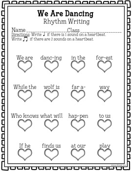 We Are Dancing Coloring/Dictation Page (ta & ti-ti prep & practice)