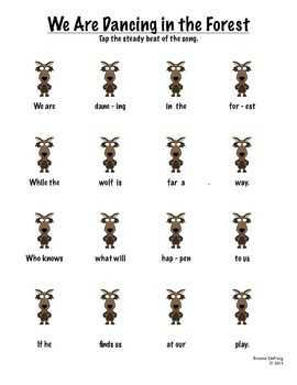 We Are Dancing in the Forest Beat/Rhythm Worksheets