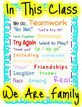 We Are Family Classroom Poster