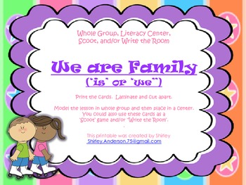 We Are Family - Grammar (is, are) Scoot, Write the Room