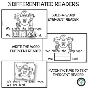 We Are Kind on the Playground Back to School Emergent Reader Sight Word ARE