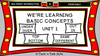 We're Learning Basic Concepts:  Unit 1 Interactive & Printables