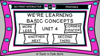 We're Learning Basic Concepts:  Unit 4 Interactive & Printables