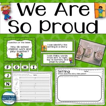 We Are So Proud Kindergarten Unit 1 Week 2