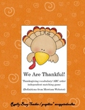 We Are Thankful! Vocabulary/ ABC order center game