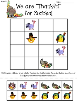 Thanksgiving Primary Sudoku