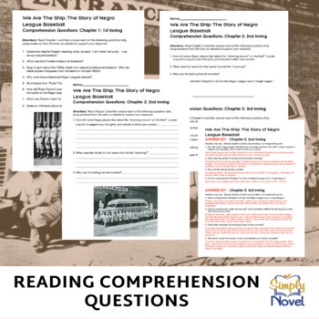 We Are the Ship Common Core Reading Companion Lessons, Questions