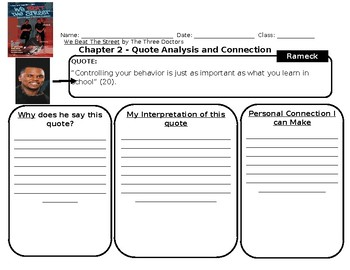 21 We Beat The Street Full Book Quotes Analysis Graphic Organizers