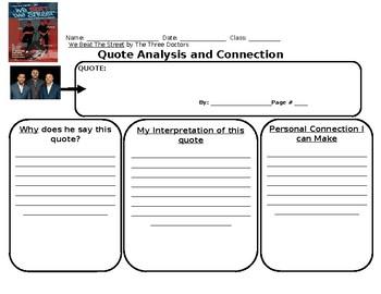 We Beat The Street Quote Analysis Graphic Organizer