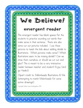 We Believe! Football Seahawks Emergent Reader