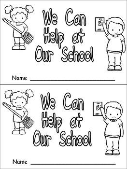 We Can Help at our School Emergent Reader for Kindergarten- Classroom Helpers