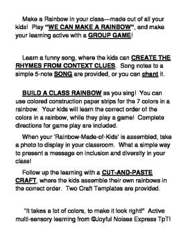 """""""We Can Make a Rainbow!"""" - Build Social Skills with a Game, Craft and Song"""