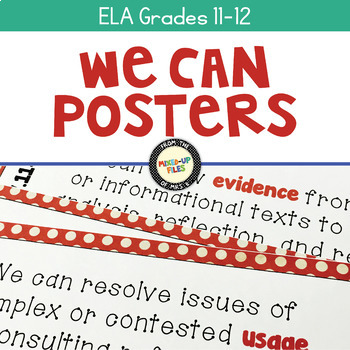 We Can Statements Common Core ELA Grades 11 - 12