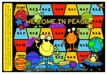 We Come In Peace Multiplication Board Game x4 Facts