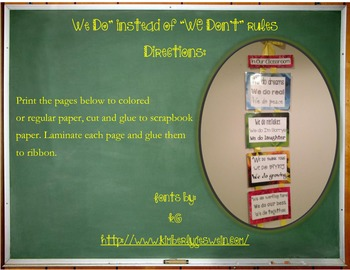 We Do (instead of We Don't) class rules and expectations