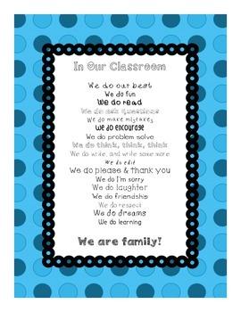 In Our Classroom, We Do Inspirational Poster (aqua)