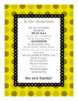 In Our Classroom, We Do Inspirational Poster  (yellow)