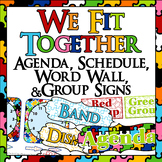 We Fit Together! Puzzle themed agenda, scheduled, word wal