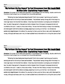 We Fought Back Reading Strategies Handouts