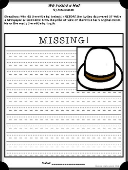 We Found a Hat Reading Response Resources