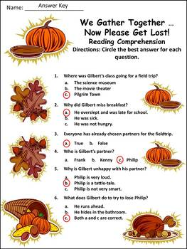 Thanksgiving Reading Activities: We Gather Together,Activity Packet
